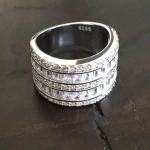 Jewelry - NEW Sterling Silver White Sapphire Diamond Ring